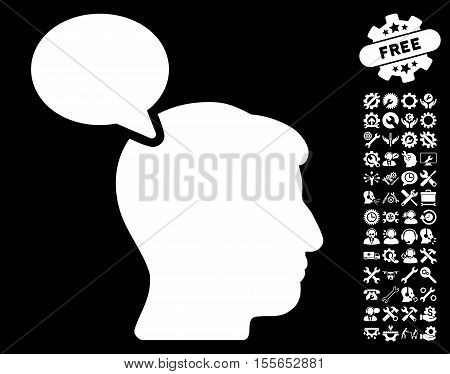 Person Opinion pictograph with bonus settings images. Vector illustration style is flat iconic white symbols on black background.