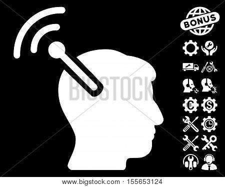 Radio Neural Interface icon with bonus tools design elements. Vector illustration style is flat iconic white symbols on black background.