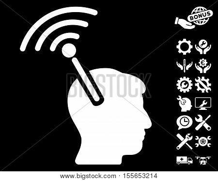Radio Neural Interface pictograph with bonus settings icon set. Vector illustration style is flat iconic white symbols on black background.