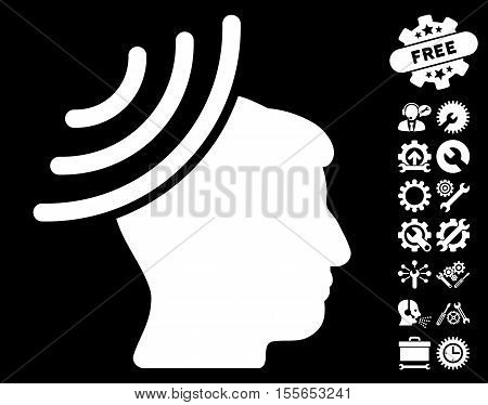 Radio Reception Mind icon with bonus service icon set. Vector illustration style is flat iconic white symbols on black background.