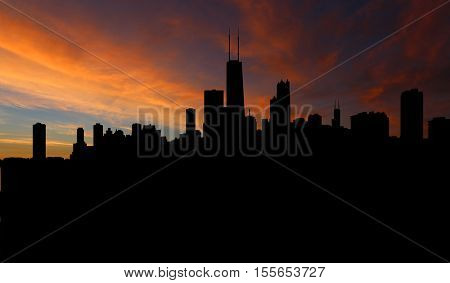 Chicago skyline with sunset illustration