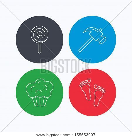 Footprint, lolly pop and muffin icons. Hammer linear sign. Linear icons on colored buttons. Flat web symbols. Vector