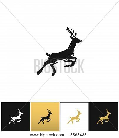 Deer silhouette or reindeer vector icon. Deer silhouette or reindeer pictograph on black, white and gold background
