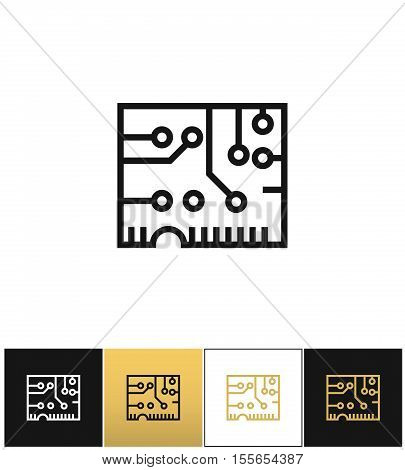 Electronics computer circuit chip vector icon. Electronics computer circuit chip pictograph on black, white and gold background