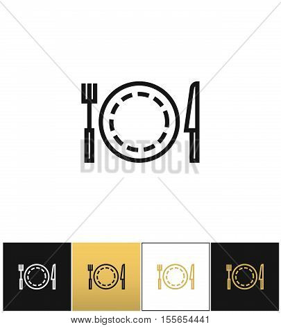 Food or luncheon vector icon. Food or luncheon pictograph on black, white and gold background