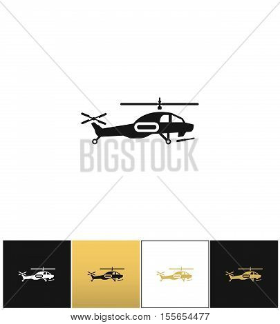 Helicopter vector icon. Helicopter pictograph on black, white and gold background