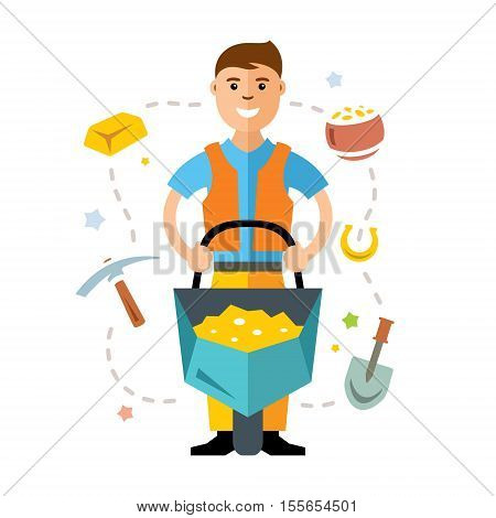 A man with a cart of gold. Isolated on a white background