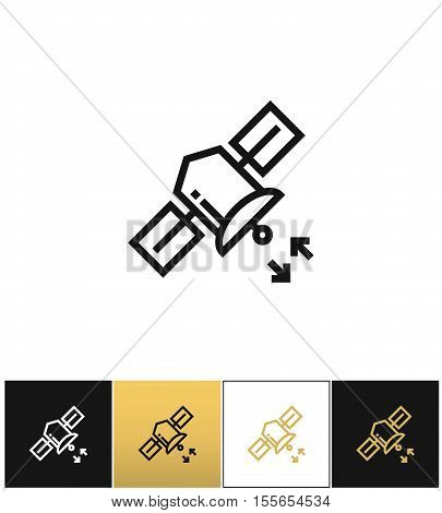 Internet satellite broadcast vector icon. Internet satellite broadcast pictograph on black, white and gold background
