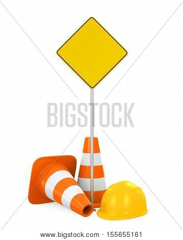 Traffic Cones, Safety Helmet and Blank Warning Sign isolated on white background. 3D render
