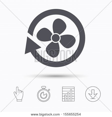 Ventilation icon. Air ventilator or fan symbol. Stopwatch timer. Hand click, report chart and download arrow. Linear icons. Vector