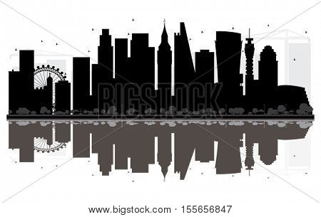 London City skyline black and white silhouette with Reflections. Vector illustration. Simple flat concept for tourism presentation, banner, placard or web site. Cityscape with landmarks