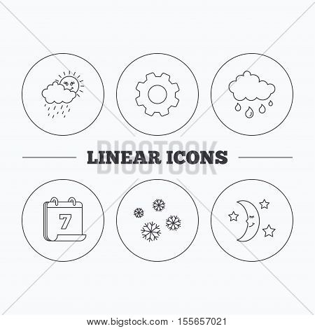 Weather, snowflakes and rain icons. Moon night linear sign. Flat cogwheel and calendar symbols. Linear icons in circle buttons. Vector