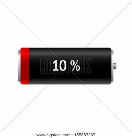 Illustration discharged battery on a white background