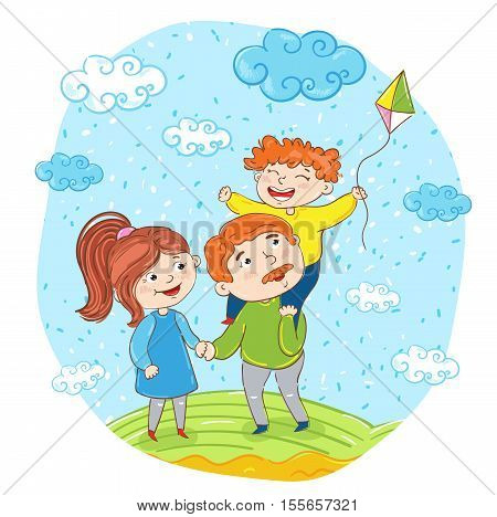 Happy family cartoon characters vector illustration. Father mother and son with kite on meadow on sky background. Summer time rest at nature. Family bonding activities travel time. Happy people. Funny cartoon happy family outside with happy kid