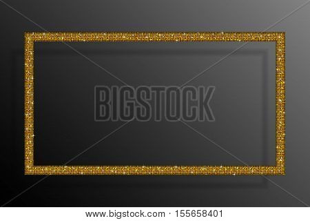 Frame made of gold sequins in the form rectangle. Mosaic sequins glitter sparkle stars.