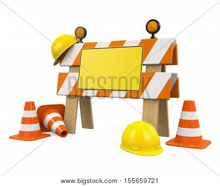 Under Construction Barrier, Traffic Cones and Safety Helmet isolated on white background. 3D render