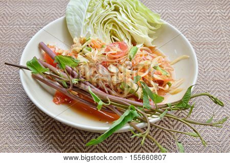 papaya salad Thai food called Som Tum