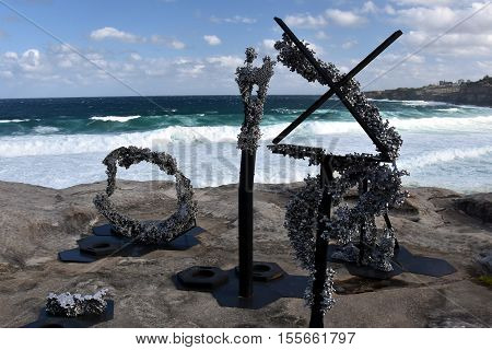 Sydney Australia - Oct 23 2016. Louis Pratt: Chaos Theory. Sculpture by the Sea along the Bondi to Coogee coastal walk is the world's largest free to the public sculpture exhibitions.