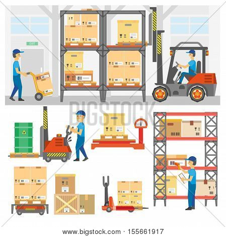Logistic and delivery service set. Warehouse center and loading trucks, forklifts and workers, storage and forklift transportation, goods distribution. Flat vector illustration isolated on white.