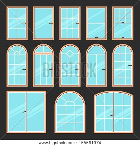 Vector icons set of different types of windows black and white. Architecture frame silhouette isolated. Building element illustration. Home shape design