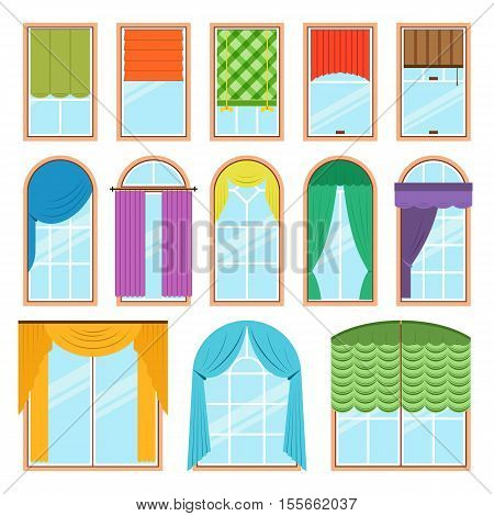 Set of vector curtains different forms in flat style. Waving hanging curtains for the window decoration. Interior home fabric design collection. Apartment view drape illustration
