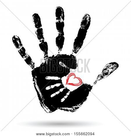 Vector concept or conceptual cute paint hand of mother child and heart shape isolated on white background