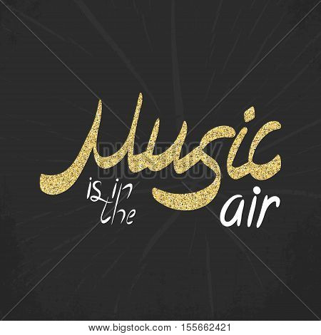 Abstract music hand drawin card. Doodle vector illustration. Graphic poster, cover sketch style. Modern cute background. Sound concept. Invitation, packaging element. Music is in the air
