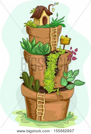 Illustration of a Tiered Miniature Garden Made from Sculpted Flower Pots
