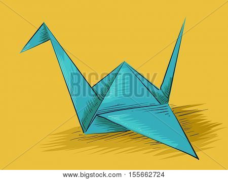 Origami Themed Illustration Featuring a Crane Made from  Folded Blue Paper