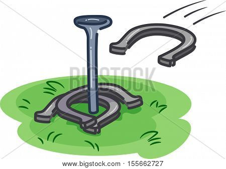 Illustration of Players Throwing Horseshoes Towards a Metal Rod Erected on a Patch of Grass