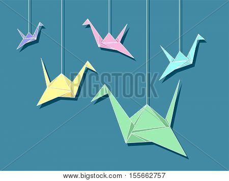 Colorful Illustration of Paper Cranes Tied to Strings Hanged from the Ceiling to Attract Good Luck