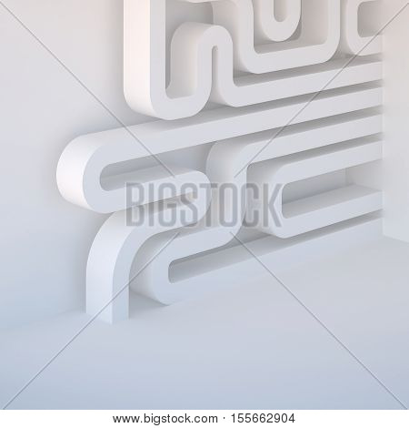 3d illustration. Abstract white three-dimensional architectural composition background. Image and association: microcircuit pipeline labyrinth intestine. Render place for text.