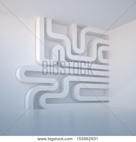 3d illustration. Abstract white three-dimensional architectural composition background. Image and association: microcircuit pipeline labyrinth intestine. Render.