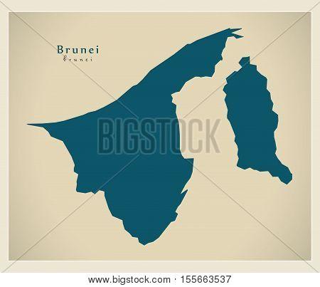 Modern Map - Brunei BN vector illustration