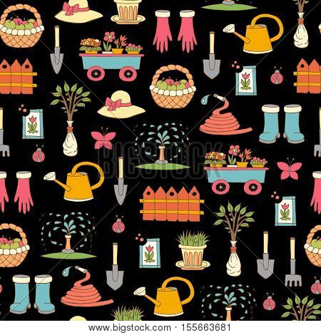 Vector seamless pattern with hand drawn colored symbols of garden on black color. Pattern on the theme of work and spring. Background for use in design, packing, web site, fabric