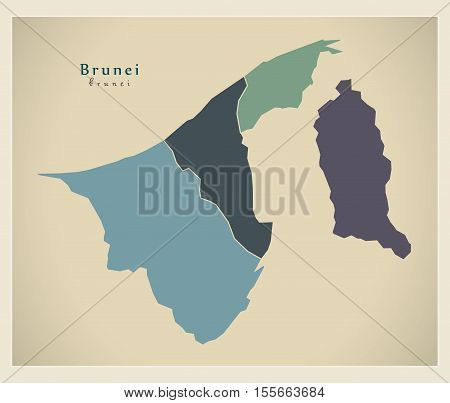 Modern Map - Brunei with districts colored BN vector illustration