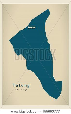 Modern Map - Tutong BN vector illustration