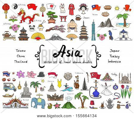 Vector set with hand drawn colored doodles on the theme of Asian countries - China Japan Turkey Thailand Taiwan Indonesia. Tourism travel and symbols. Sketches for use in design, web site, textile, fabric
