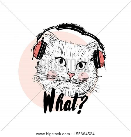 Cute cat wearing headphones print with inscription black and pink color