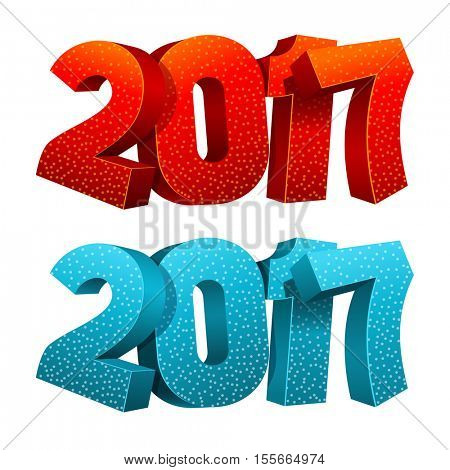 Vector illustration of 2017 digits isolated on white background. Design element for Christmas and New Year greetings.