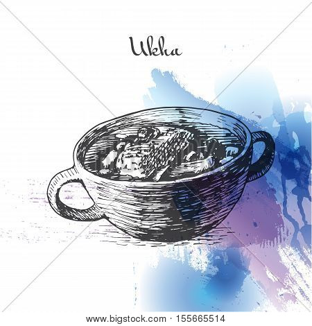 Ukha watercolor effect illustration. Vector illustration of Russian cuisine.