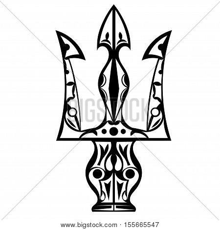 Black and white tattoo trident isolated on white background