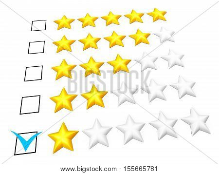 Rating concept. One star mark. Isolated on white. 3D illustration