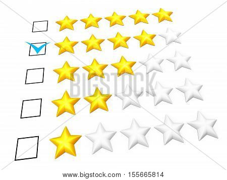 Rating concept. Four stars mark. Isolated on white. 3D illustration