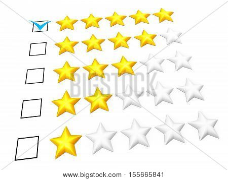 Rating concept. Five stars mark. Isolated on white. 3D illustration