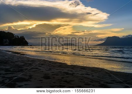 Tropical Beach At Low Tide. Sunset