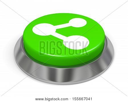 3d illustration of green button with share sign. Isolated on white