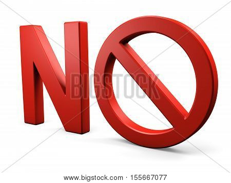 Text NO forbidden sign. Isolated on white. 3d illustration.