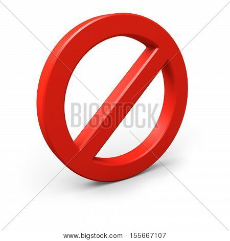 Red forbidden symbol. Isolated on white. 3d illustration.