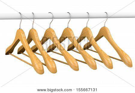 Wooden Hangers On Rail 2
